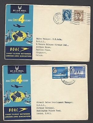 1959 BOAC Comet 4 First Flight covers between London and Singapore