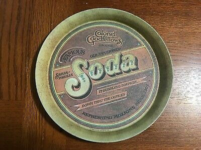 "1979 VINTAGE COLONEL GOODFELLOWS BRAND Round 13""  SODA TIN TRAY MANCAVE WALL"