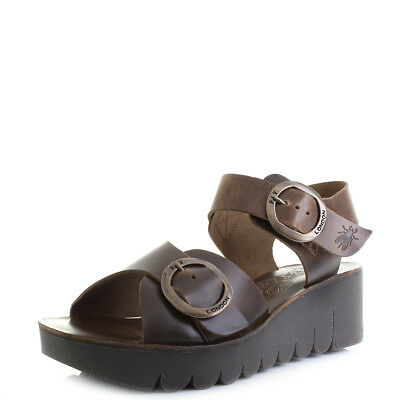 bb546e0d8cc4 WOMENS FLY LONDON Yech Bridle Camel Leather wedge Sandals Sz Size ...