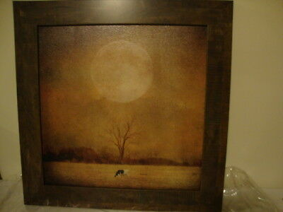 SALE /Country new Large Cow in sunset print in wood frame/nice