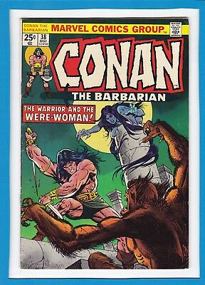 "Conan The Barbarian #38_May 1974_Very Fine Minus_""the Were-Woman""_Bronze Age!"