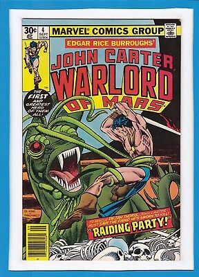 "John Carter, Warlord Of Mars #4_September 1977_Fine_""raiding Party""_Bronze Age!"