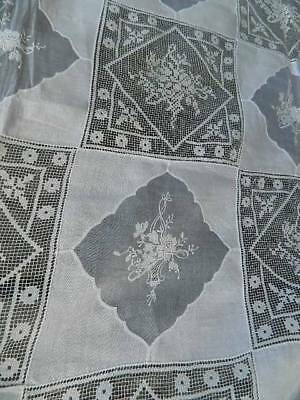 Vintage 11ft huge banquet white hand embroidered fine linen Army Navy tablecloth