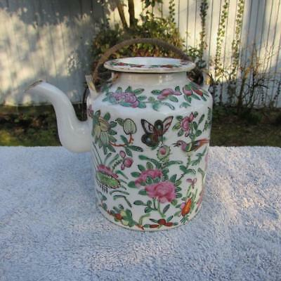 ANTIQUE 19thC CHINESE CANTONESE FAMILLE ROSE TEAPOT