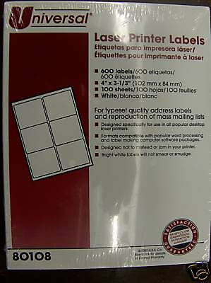 "UNIVERSAL LASER PRINTER LABELS 4"" x 3 1/3"" 600 labels"