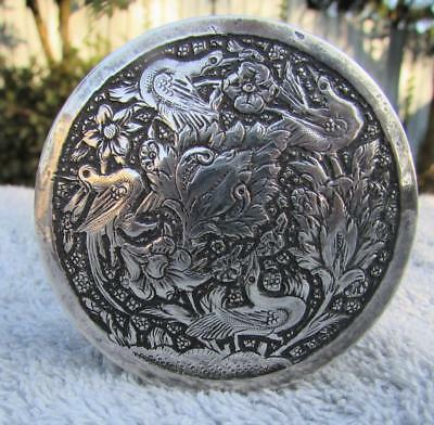 Fine Antique Persian Silver Trinket Box Engraved Birds - Hallmarked