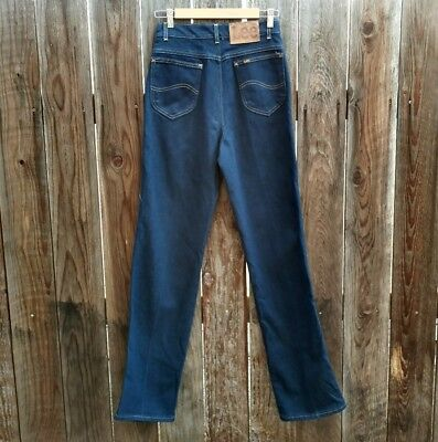 Vintage 70's 80's Women's Lee Jeans Denim Dark Wash Disco Stretch Flair NOS 10