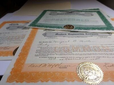 6 Pc. Lot Of Stock Certificates -1934 Delaware Co.-Munlock Engineerng Co.