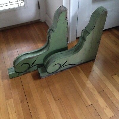 Antique Victorian 1890s Large Green Wooden House Corbels Architectural Salvage