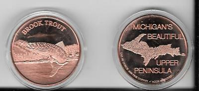 """1.5"""" YOOPER Brook Trout COIN-1 Ounce of PURE copper with case- From da UP"""