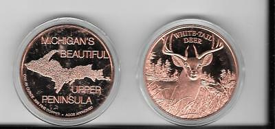 """1.5"""" YOOPER The Deer COIN-1 Ounce of PURE copper with case- From da UP"""