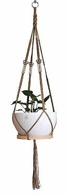 4 Legs Macrame Natural Jute Plant Hanger &Holder With Wood Platter , 52-inches