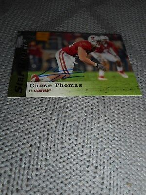 Signed Football Card Chase Thomas Upper Deck Autograph 2013 Stanford Cardinal
