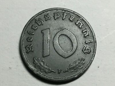 GERMANY Third Reich 1942-F 10 Pfennig zinc coin excellent condition
