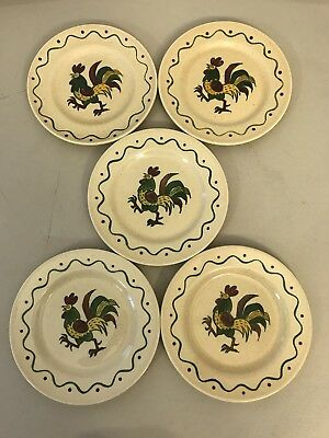 """Set 5 Poppytrail 7.5"""" SALAD PLATES California Provincial Rooster Dishes Green"""