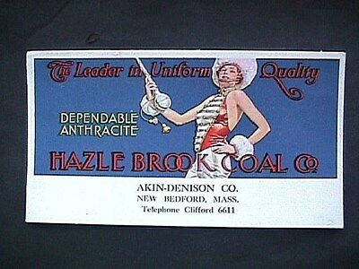 Hazel Brook Coal Co New Bedford MA Akin Denison Advertising Blotter Collectible