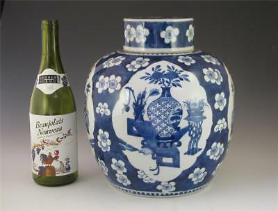 LARGE ANTIQUE 19TH C CHINESE PORCELAIN BLUE & WHITE GINGER JAR 11.25 in 28.5 cm