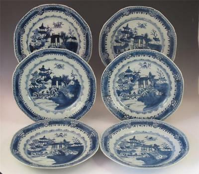 Set 6 Antique 18Th/19Th C Chinese Porcelain Octagonal Plates W/ River Scene