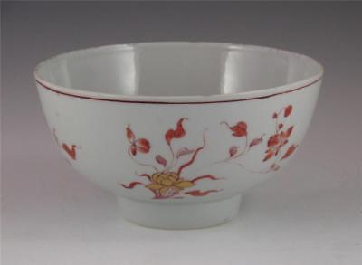 Antique 18Th C. Chinese Porcelain Iron Red And Gold Bowl Prov: Ben Edwards Col.