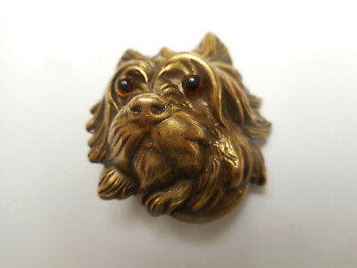 Realistic 3D Yorkie DOG Head Brass Glass Eyes Vintage Button 1-3/8""