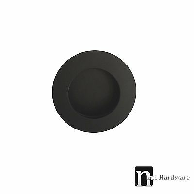 Matt Black Finish Round Flush Pull (50mm) - Sliding Door Handle