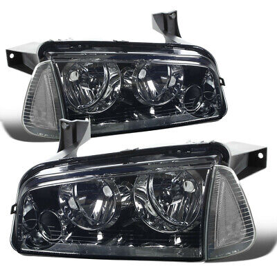 Fit 2006-2010 Dodge Charger Pair Smoked Houisng Headlight+Clear Turn Signal Lamp