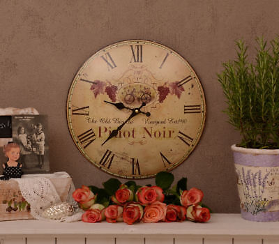 French Wall Clock Pinot Noir Grape Vines Kitchen Clock Vintage
