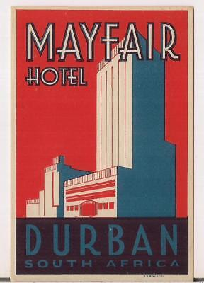 Mayfair Hotel DURBAN SOUTH AFRICA Vintage Luggage Label/Sticker