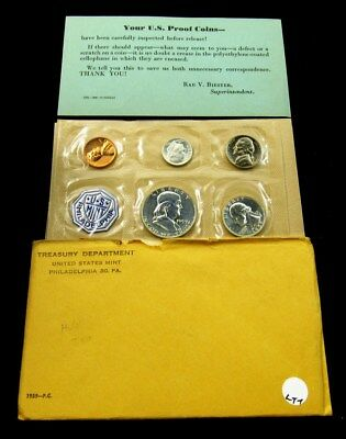 1959 US Mint Silver Proof Set Flat Pack w/ COA & Envelope - 5 Coins Uncirculated