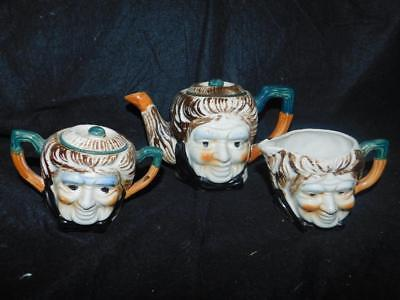 "Vintage Japanese Figural Tea Set Teapot Sugar And Creamer Teapot 4.50"" T"
