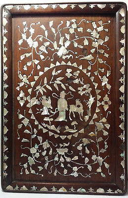 Vintage / Antique Chinese Hard Wood Carved Mother of Pearl Inlay Inlaid Tea Tray