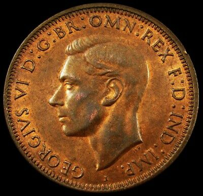 Australia 1943-I Large Penny of George VI w/Luster -UNC (Dets)- KM# 36 PG 98