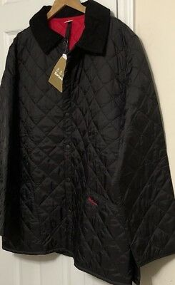 NWT BARBOUR Men's LIDDESDALE BLACK QUILTED NYLON/RED INTERIOR JACKET Size XL