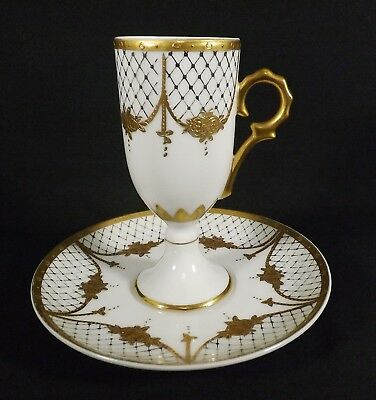 Lovely Vintage Tall Demitasse Cup & Saucer Gold White w/Blue Anchor Mark Unknown