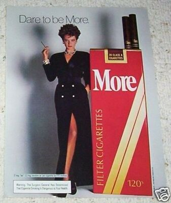 1985 ad page - More cigarettes - sexy girl smoking vintage tobacco print ad page