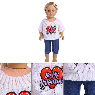 2017 Cute Handmade T-shirt +Sweater  For 18inch American Girl Doll Party*