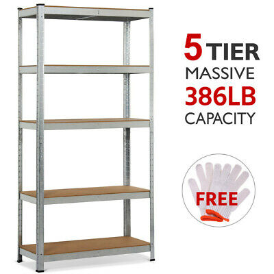 5 Level Heavy Duty Storage Rack Adjustable Shelves Garage Steel Metal Shelf Unit