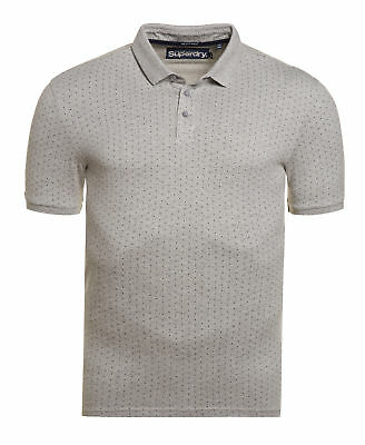 New Mens Superdry Factory Second City AOP Polo Shirt Grey Grit