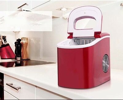 15KG/Day New Small Red Commercial Ice Maker Home Portable Automatic Quick &