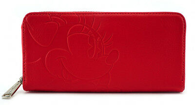 $ LOUNGEFLY DISNEY Ziparound Long Wallet MINNIE MOUSE Red Debossed Faux Leather