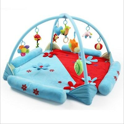 E44 Blue Baby Fitness Bodybuilding Frame Velvet Cotton Play Mat Activity Gym A