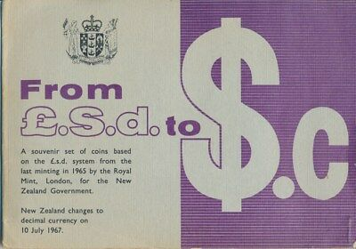 New Zealand: 1965 Pink label ½d to 2/6 UNCIRCULATED Set in original package