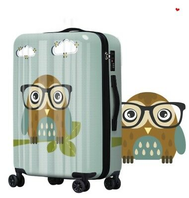 E506 Cartoon Owl Universal Wheel ABS+PC Travel Suitcase Luggage 20 Inches W