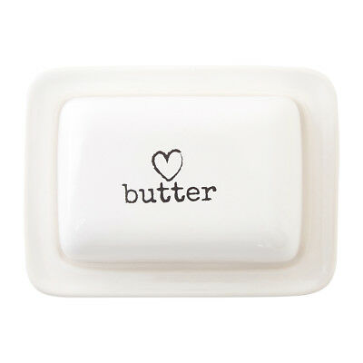 Premier Housewares Charm Butter Dish, White Heart Traditional Homely Cream