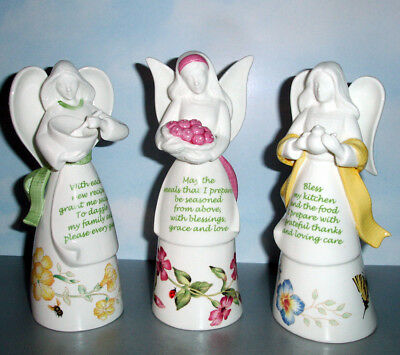 Lenox Butterfly Meadow Kitchen Angel Bell Set of 3 Figurines Bless Success New