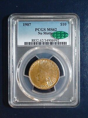 1907 Ten Dollar No Motto GOLD INDIAN PCGS MS62 CAC $10 Coin PRICED TO SELL NOW!