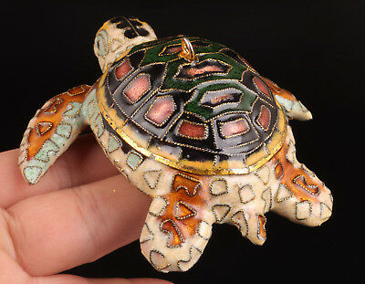 Cloisonne Hand-Sculpted Lifelike Statue Turtles Pendant With Good Luck