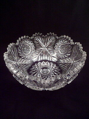 Rare American Brilliant Period/ABP Bowl, Antique Cut Crystal, Feather X Pattern