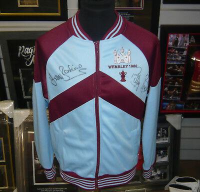 Bonds & Brooking West Ham Utd SIGNED AUTOGRAPHS 1980 Tracksuit Jacket AFTAL UACC