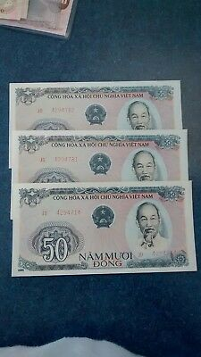 3- Vietnam 50 Dong ,Banknotes , Unc.